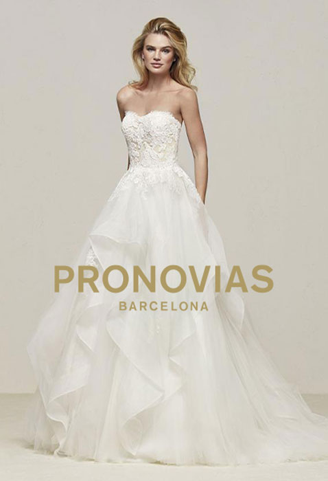 model wearing pronovias wedding gown