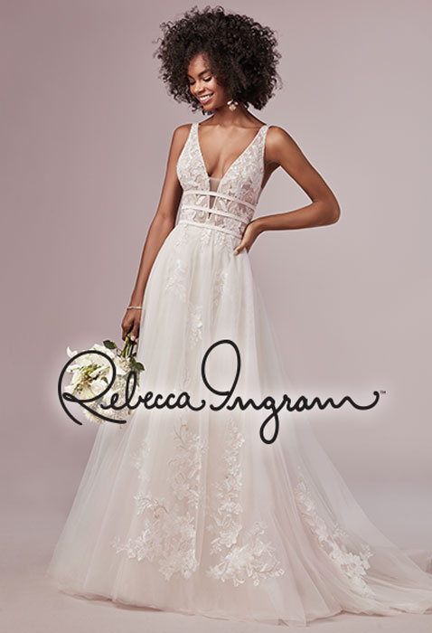 model wearing rebecca ingram wedding gown