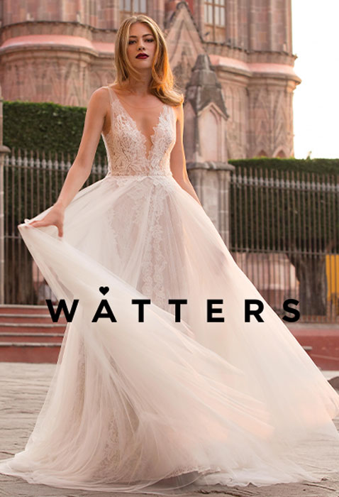 Bride wearing watters wedding gown