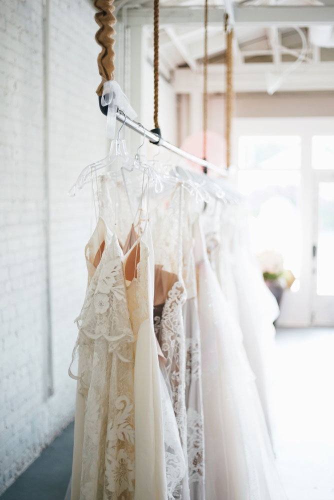 wedding dresses in shop