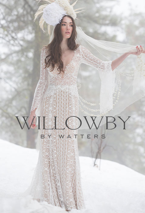 model wearing willowby adelaide wedding dress