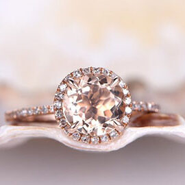 Morganite Ring with Rose Gold